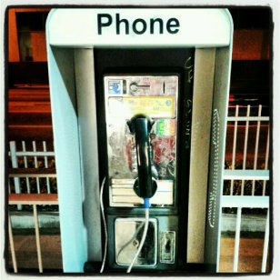 A Real old school payphone that only accepts coins, found at the Metro station in Little Tokyo